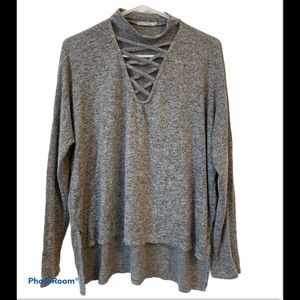 Cage Neck Top Heather Gray Size M High/Low